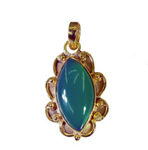 fine Green Onyx Gold Plated Green Pendant Natural jaipur US gift - $12.86