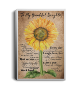 Sunflower To My Beautiful Daughter I Love U Forever Portrait Canvas .75i... - $25.00+