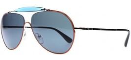 New Sunglasses PRADA Aviator Top Orange Silver Dark Blue PR56SS UFS2K1 59mm - $118.79