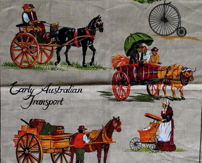 Australia Transport Horses Carts Tea Dish Towel Souvenir Australian Collector
