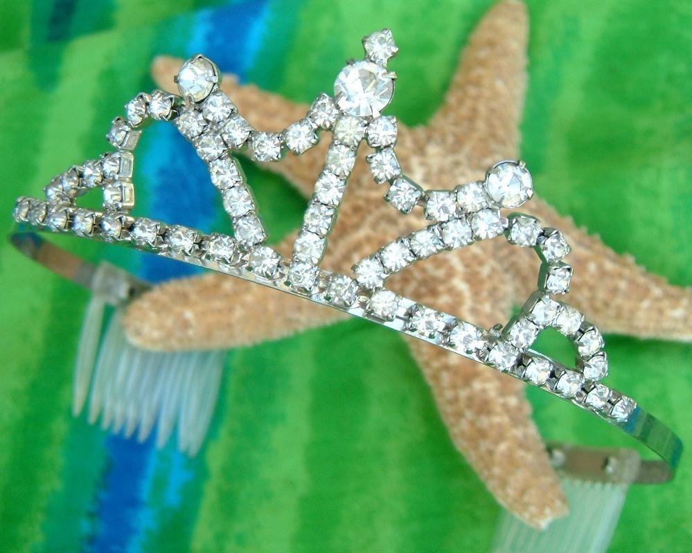 Vintage rhinestone tiara princess crown pageant