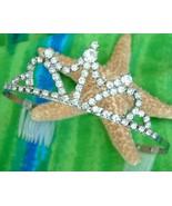Vintage Rhinestone Tiara Silver Crown Combs Bride Prong Set - $29.95