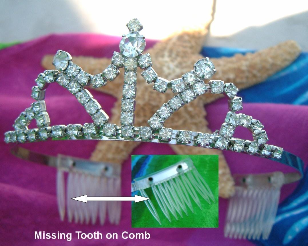 Vintage Rhinestone Tiara Silver Crown Combs Bride Prong Set