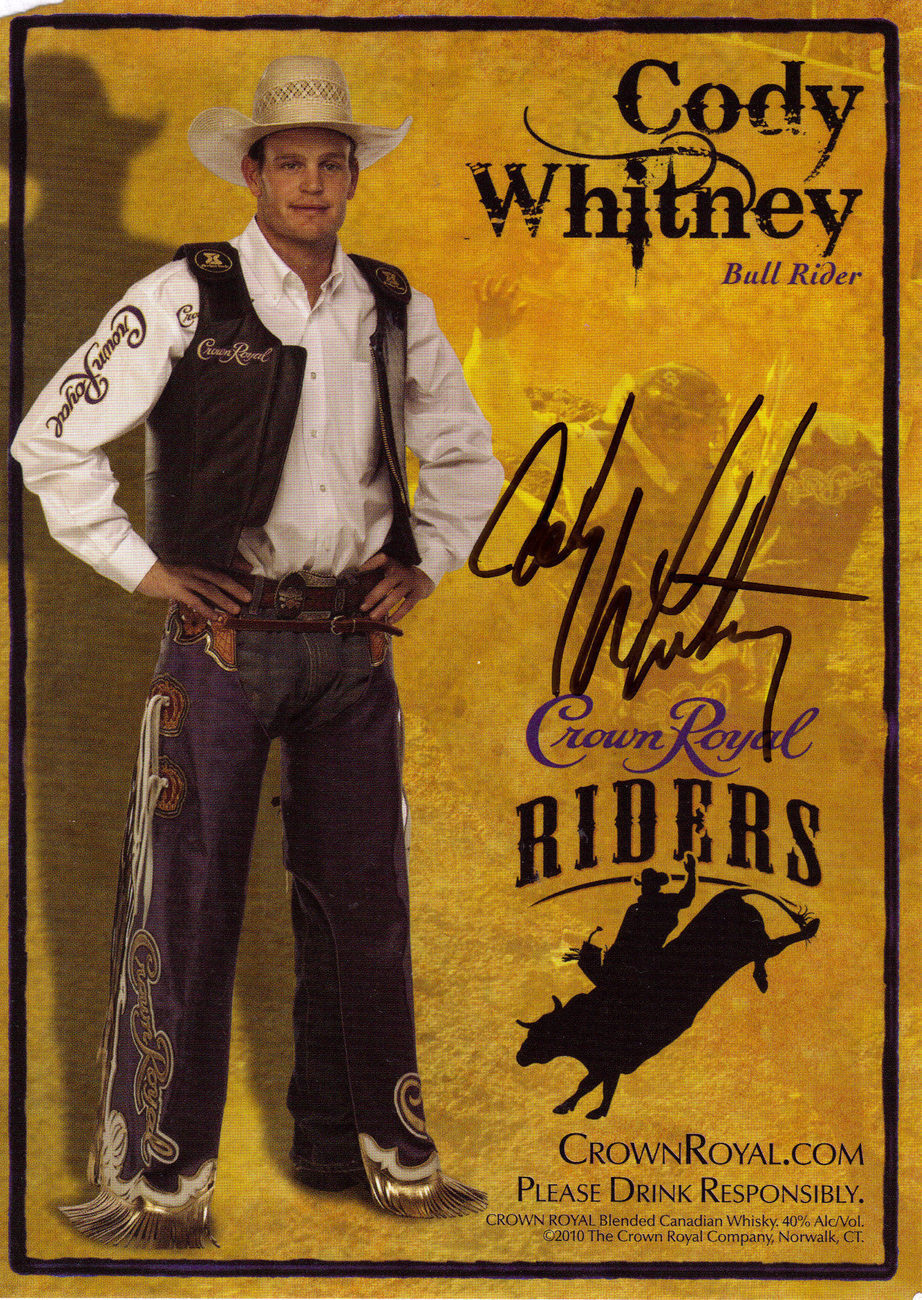 CODY WHITNEY Bull Rider Autographed 7 x 5 Photo