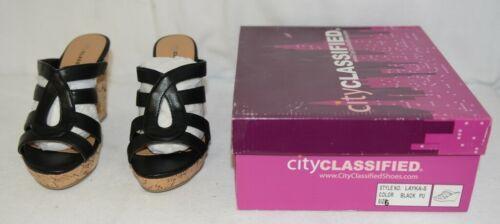 City Classified Layka S Black Sandal Wedge Heel Size Six