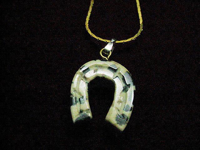 Dalmation jasper horseshoe pendant