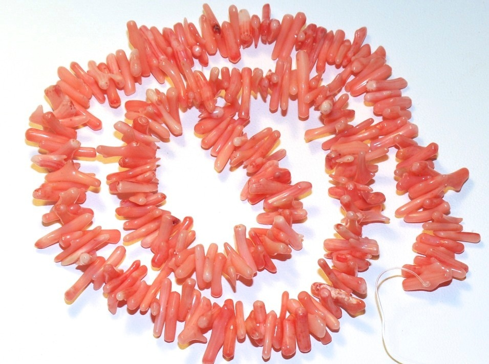 "3 Strands 17"" Pink Coral Beads for Necklace, Bracelets, Branch Coral"