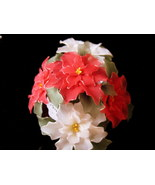 Vintage Pointsetta Floral Center Piece w/ handmade nylon fowers-Unique G... - $59.95