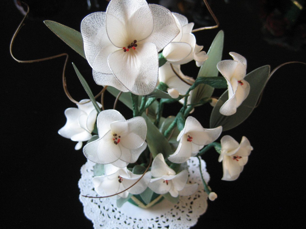 Vintage Floral Center Piece - white handmade nylon flowers - Unique Gift Idea  Bonanza