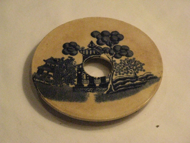 Small Antique Butter Churn Lid, Oriental Theme, English Origin 1800's