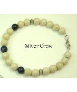 Natural Riverstone, Blue Goldstone & Bright Silver Unisex Bracelet - $14.99
