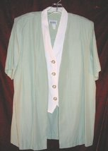 Womens Good Times Green Suit Jacket Vest Skirt USA 12 - $20.00