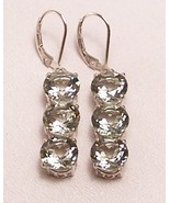 Green Amethyst Prasiolite Sterling Silver Earrings 11.0 cttw MADE IN USA - $215.00