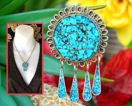 Vintage Mexico Silver Crushed Turquoise Stone Inlay Brooch Pin Pendant - £21.53 GBP