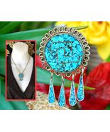 Vintage Mexico Silver Crushed Turquoise Stone Inlay Brooch Pin Pendant - £20.61 GBP