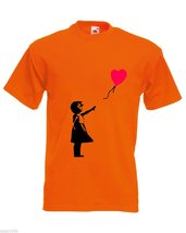 Mens T-Shirt Banksy Girl Heart Balloon, Lonely Girl tShirt Romantic Love Shirt - $24.74