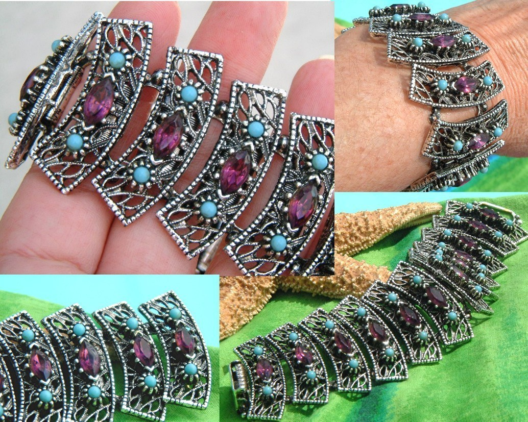 Vintage Panel Bracelet Turquoise Amethyst Rhinestones Chunky