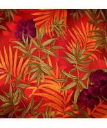 Arancione Tropicale Hawaiana Poliestere Stampa Twill Lycra Tessuto Elast... - $64.48