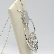 925 STERLING SILVER NECKLACE WORKED HEART FOUR LEAF CLOVER PENDANT, MARIA IELPO image 2