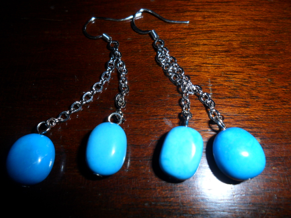 BoHo Dangle Faux Turquoise Earrings