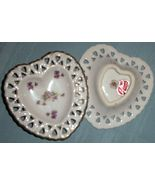 Lefton China  2 heart shape mint dishes  dainty & decorative - $24.00