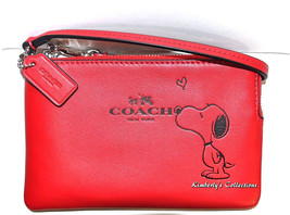 COACH X Peanuts SNOOPY Limited Edition Red Leather Wristlet Clutch Walle... - $125.77