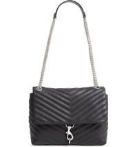 Rebecca Minkoff Women's Edie Flap Quilted Leather Shoulder Handbag Black - $147.19