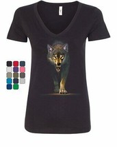 Stalking Growling Wolf Women's V-Neck T-Shirt Claws and Fangs Wolf On th... - $16.22+