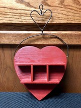 Vintage Wood Red Heart Shaped Hanging Photo Frame Plaque Wall Art  - $11.09