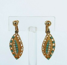 Vtg Sarah Coventry gold tone clip on earrings w/ blue & faux pearl bead accents - $19.99
