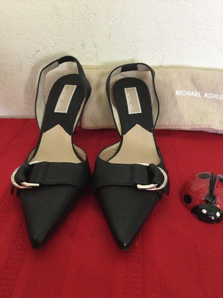 Michael Kors  Womens High Heel Slingback Black Leather  Sz 7M image 2