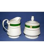 Sango Majesty Malachite Footed Creamer And Sugar Bowl Set #8420 - $833.48