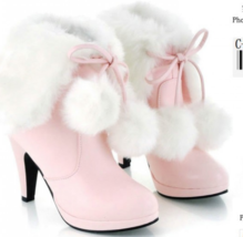 9CB159 Cute 9 cm lace-up warm booties for lady,size 4-10.5, pink - $68.80