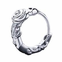 925 sterling silver Exquisite Rose Flower Hinged Huggie Hoop Earrings [E... - $16.83