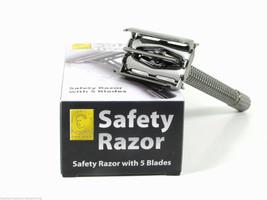 Gun Metal Finish Double Edge Twist-To-Open Safety Razor w/Long Handle - $20.88