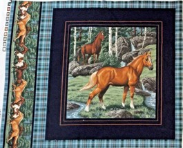 """2 Brown Horses Quilting Crafting Sewing Pillow Panel  15"""" x 16""""  - $5.20"""