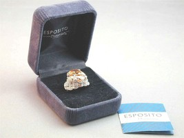 Joseph Esposito Diamonique 5 Carat Peach Apricot Cocktail Ring 6- In Box - $69.99