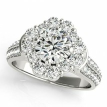 2.01 CTW Certified VS/SI Diamond Solitaire Halo Ring 18K White Gold Cert... - $4,156.02