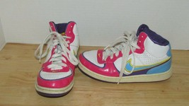 Vintage Nike high top pink blue yellow girls youth shoes 4.5 Y leather S... - $20.04