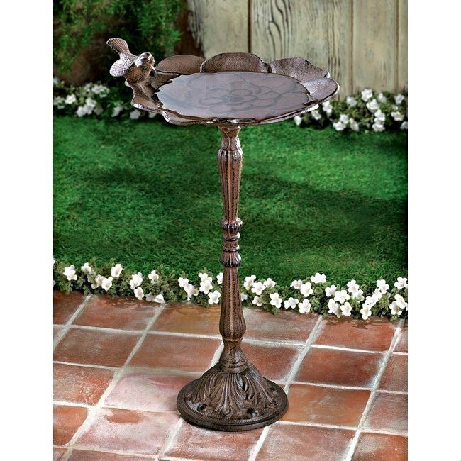 Brown Cast Iron Bird Bath on Pedestal with Flower Shaped Basin and Bird Accent