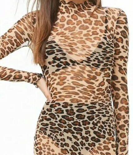 Forever 21 Sheer Mesh Leopard Cheetah Print Sexy Mock Neck Dress Long Sleeve L