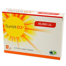 SunVit-D3 Vitamin 50000IU Film Coated Tablets x 15 - $43.62