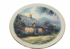 Thomas Kinkade Collectors Plate Moonlight Cottage Teleflora Painter Figu... - $19.69