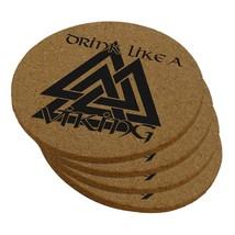 Drink Like A Viking Valknut Symbol Of Odin Round Cork Coaster (Set of 4) - $8.95
