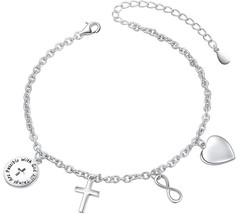 SILVER MOUNTAIN with God All Things are Possible Infinity Cross Love Hea... - $69.20