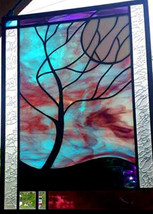 Stained Glass Window Panel Moonlit Tree stormy night turquoise purple black - $147.00