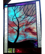 Stained Glass Window Panel Moonlit Tree stormy night turquoise purple black - $250.00