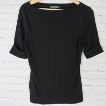 Ralph Lauren Camisa Top Mujer M Negro con Logo - $16.23