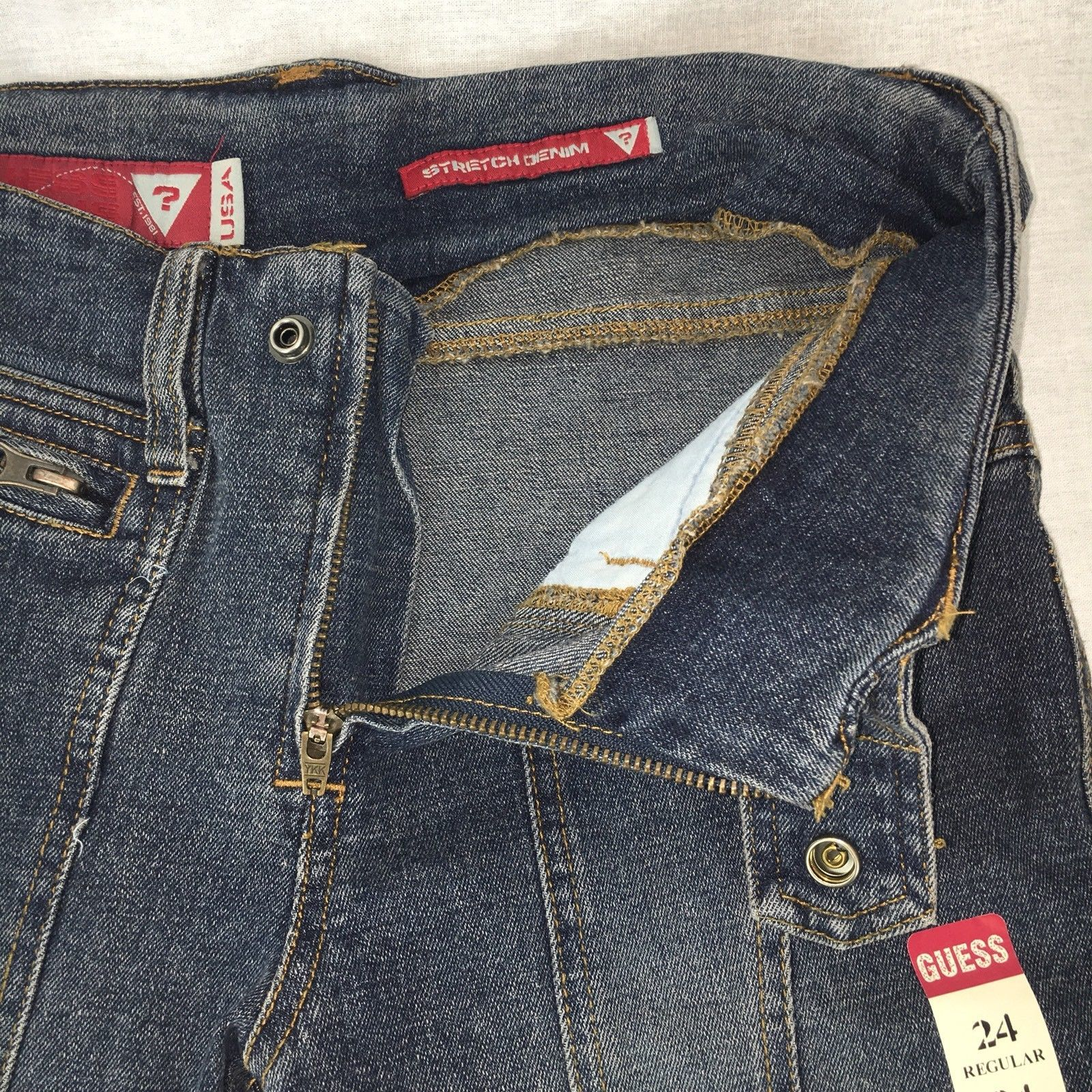 Guess Womens Jeans Boot Cut Retro Distressed Stretch Size 24Rx32