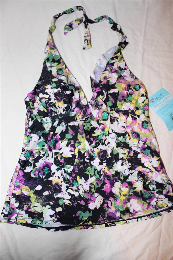 W8477 womens SPANX floral print tankini top w/tie neck and ruffle detail sz S - $19.29